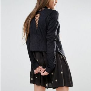 Free people lace up Faux Suede Blazer 6